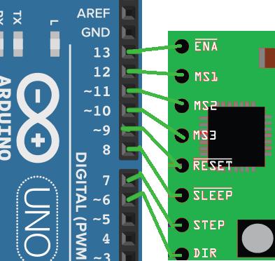 O controle do drive será realizado através dos pinos digitais do Arduino.