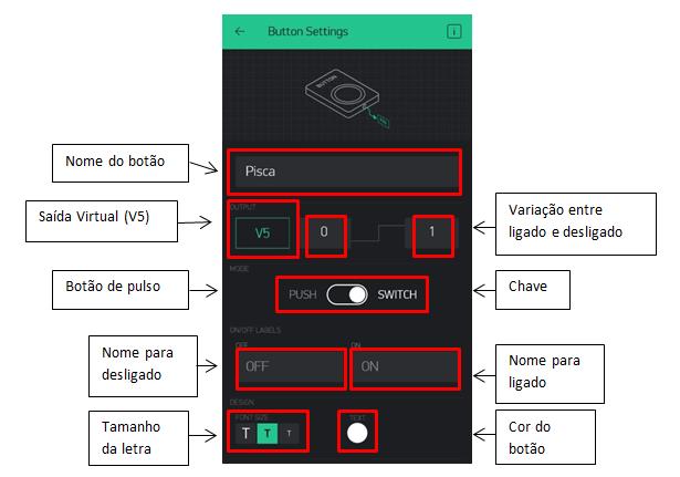 Configurações do botão