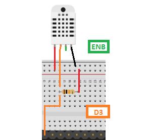 O modelo padrão de sensor DHT22 irá seguir o seguinte parâmetro, isolando o terceiro terminal.