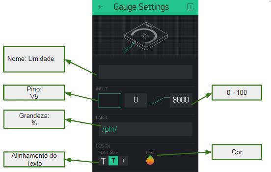 Configure os dois Gauge como mostra a imagem.