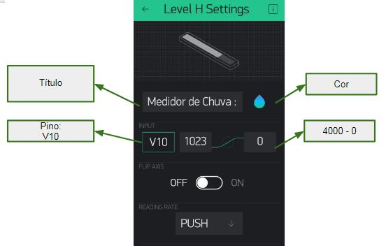 Ajuste a barra de progresso para medir a intensidade no sensor de chuva.