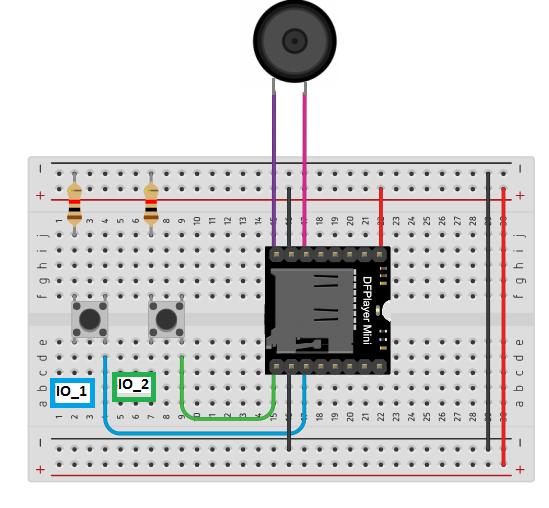 O DFPlayer dispõe de um modo autônomo, possibilitando um controle de suas funções, sem que haja a necessidade de um microcontrolador.