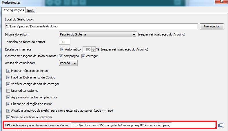 Antes de utilizar a IDE do Arduino, adicione a URL correspondente ao ESP32.