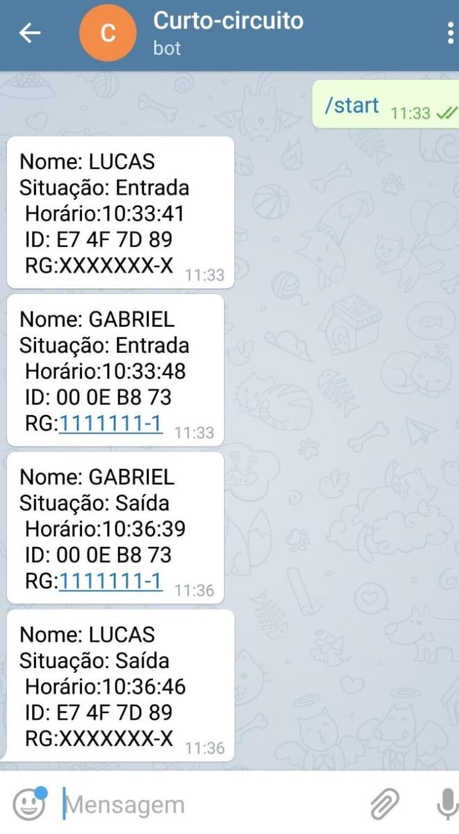 O telegram irá atuar como um breve banco de dados para a leitura das informações presente nas Tags RFID.