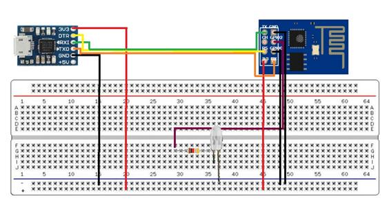 Figura 32-Conexão do CP2102 Micro USB com o ESP-01 no Modo Normal