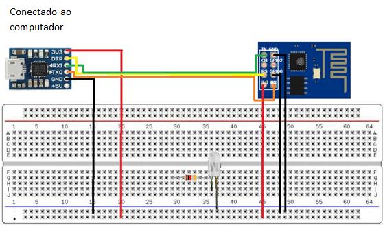 Figura 31- Conexão do CP2102 Micro USB com o ESP-01 no Modo Programação