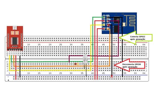 Figura 25- Conexão do FTDI com o ESP-01 no Modo Normal