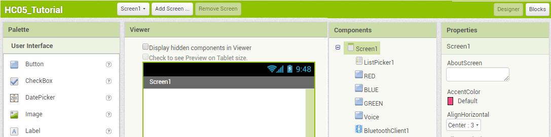 A seção Designer do App Inventor será dividida entre Palette, Viewer, Components e Properties.