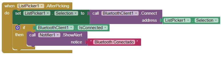 Esta lógica permitirá que o Bluetooth se conecte a um endereço específico, indicando o status de conexão do aplicativo.