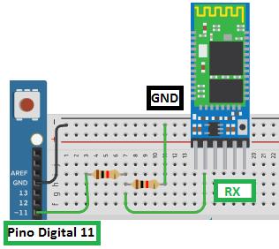 A tensão no pino RX deverá ser igual ou menor que 3,3V, portanto, construa um divisor de tensão para conecta-lo ao Arduino.