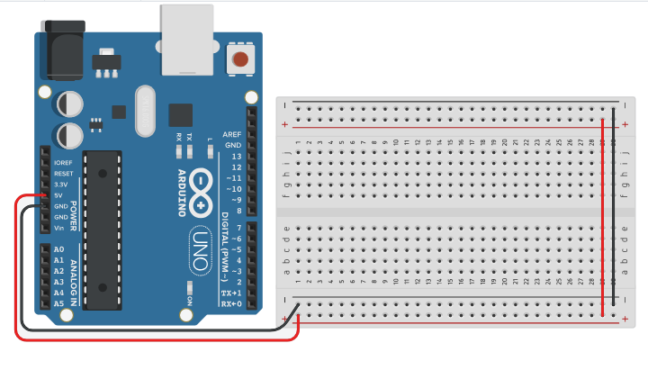 Alimente o Protoboard nos terminais 5V e GND da placa Arduino.