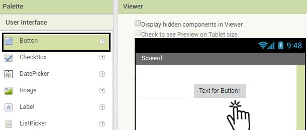Adicione três botões a tela inicial do aplicativo, estes serão usados para acionar as cores do RGB.