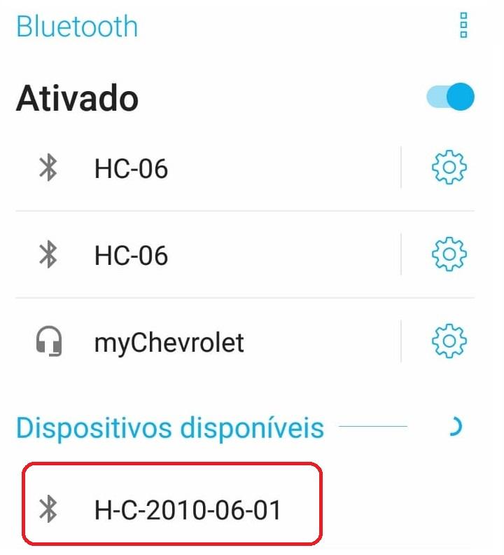 Após ativar o Bluetooth de alguém aparelho, e buscar por componentes próximos, o módulo será apresentado como HC05, ou com algum endereço composto por letras e números.