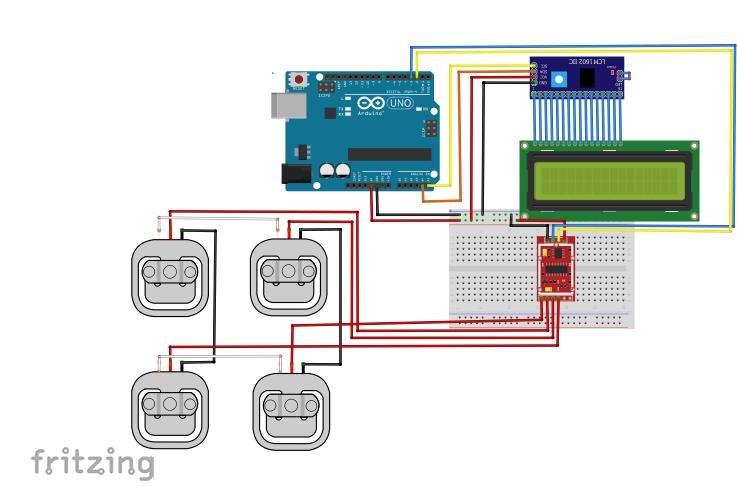 Ligação de 4 células e LCD