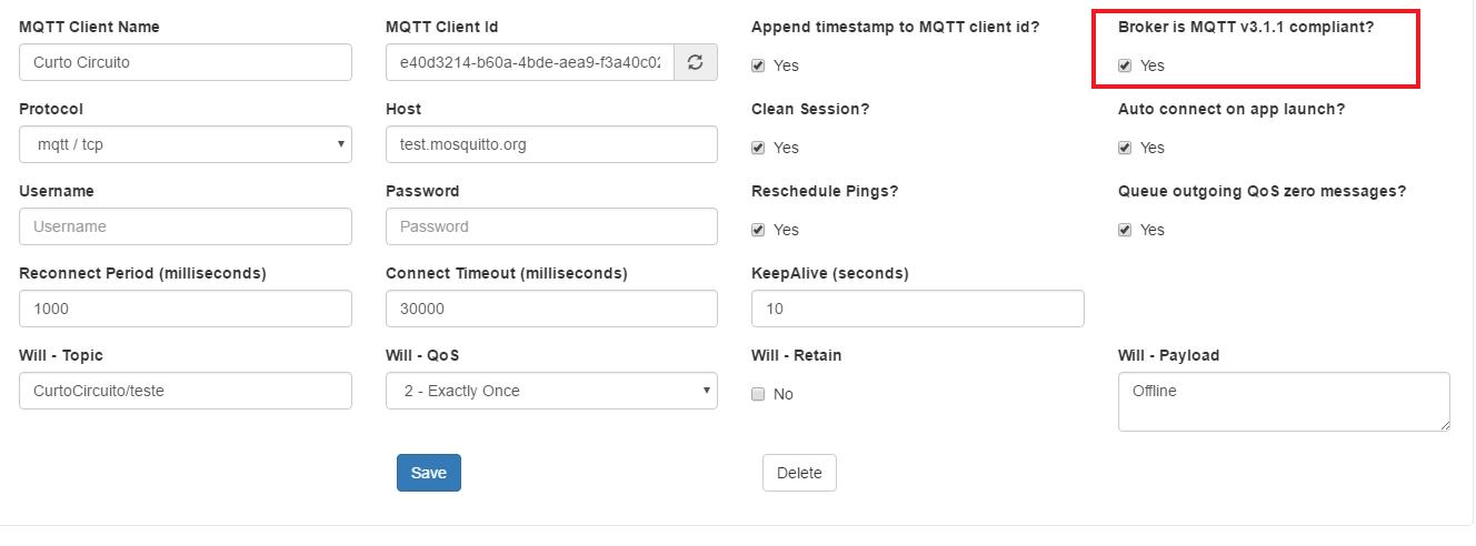 Broker is MQTT v3.1.1 compliant?