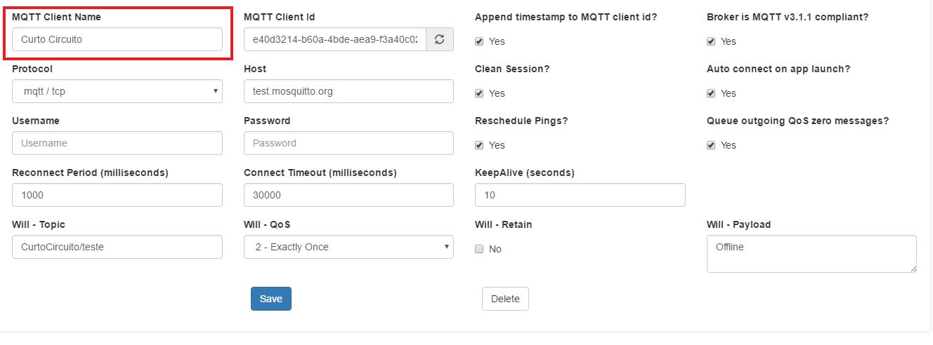 MQTT Client name