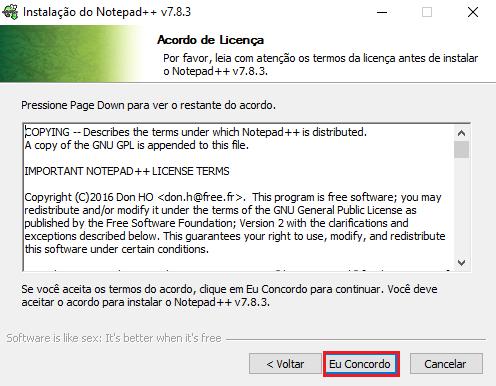 Termos de uso Notepad++