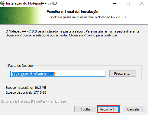 Local de instalação Notepad++