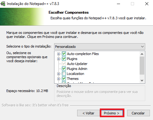 Notepad++ componentes