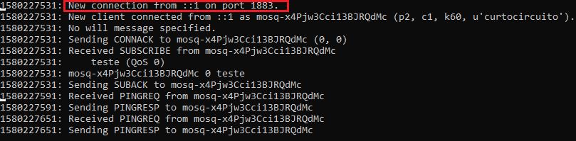 Nova conexão autenticada mqtt