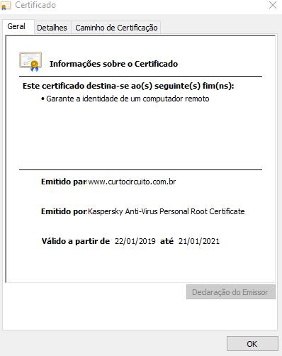 informações do certificado de segurança