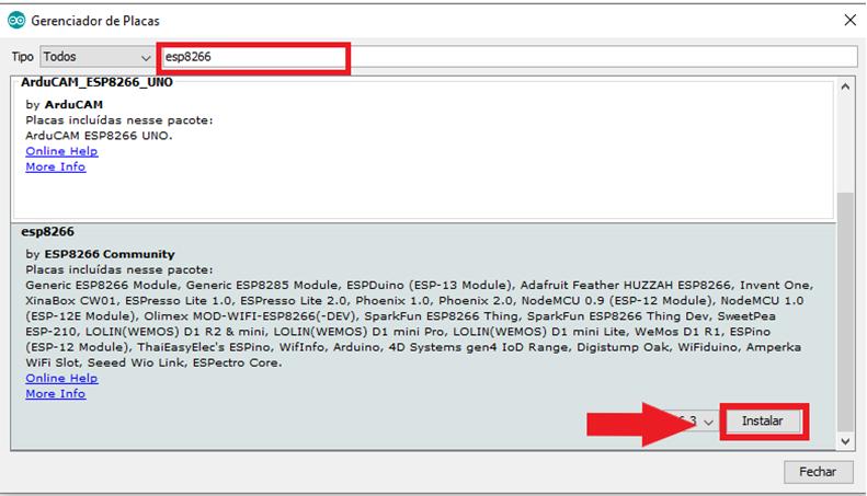 Instalar placa na IDE