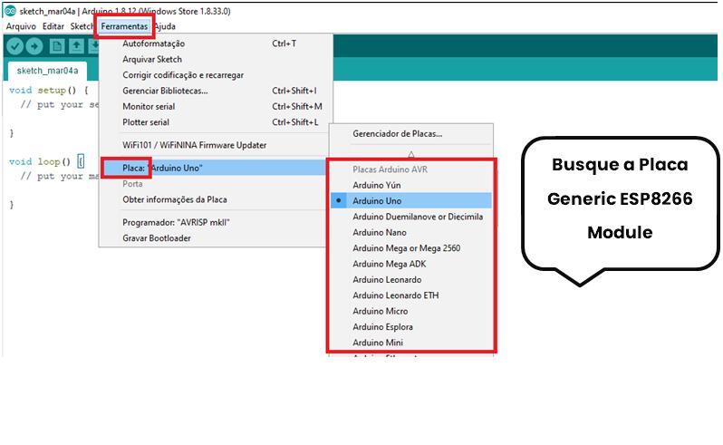 Busca pela placa Generic ESP8266 na IDE