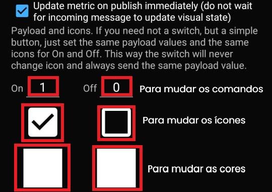 Configurações do botão MQTTDash
