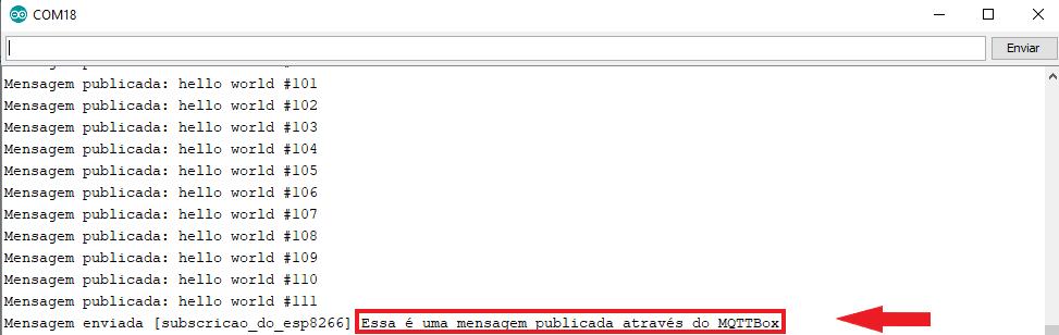 MQTTBox publicando mensagem no monitor serial
