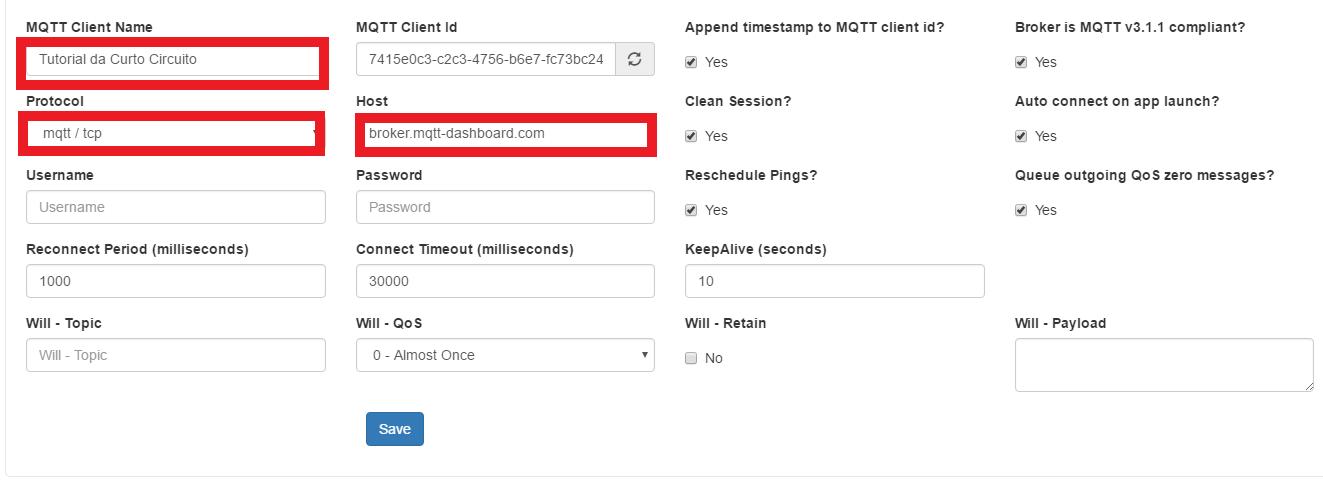 MQTTBox pré configuração