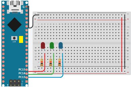 Adicione três LEDs ao circuito, para testar a comunicação entre a placa o computador.
