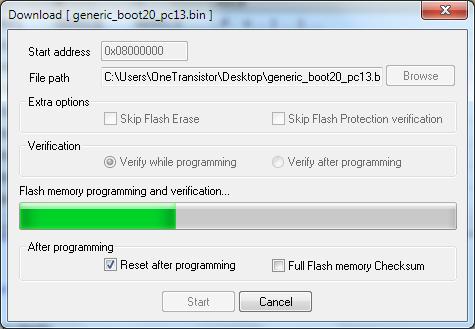 O bootloader será gravado na memória flash do microcontrolador.