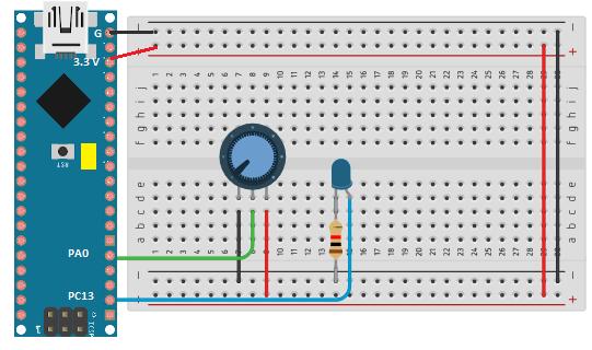 O STM32 fará uma leitura dos valores presente no potenciômetro, controlando o delay do LED.