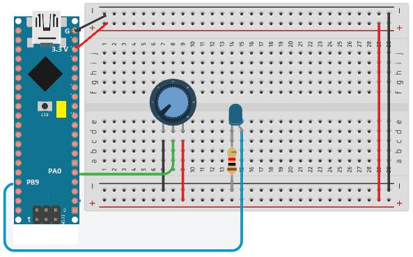 O potenciômetro será utilizado para gerar leituras analógicas, que serão convertidas para o ajuste da intensidade do LED.