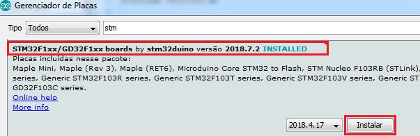 No gerenciador de placas será possível adicionar um conjunto de Placas compatíveis com a IDE.