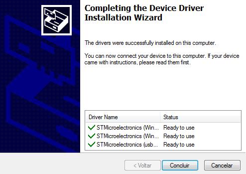 Para utilizar o micro USB do STM32, será necessário adicionar alguns drives específicos, disponíveis gratuitamente pela STMicro.