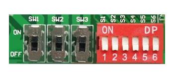 Os interruptores distribuídos pelas extensões da placa, servirão como meio de ajustar as especificações de operação do drive.