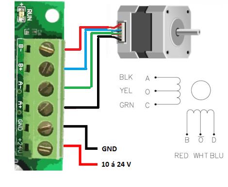 A distribuição das bobinas será dada de acordo com o especificado em diagramas e datasheets, mas, normalmente apenas 4 fios serão aplicados ao sistema.